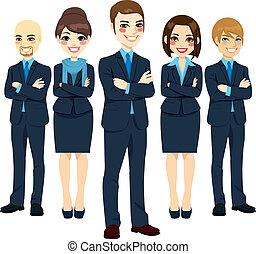 Successful Business Team - Team of five successful and ...