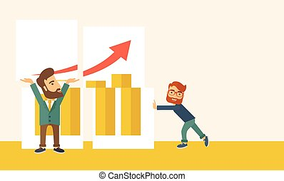 Two happy businessman are both successful in business that shows in the graph. Business growth concept. A Contemporary style with pastel palette, soft beige tinted background. Vector flat design illustration. Horizontal layout with text space in right side.