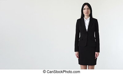 Successful business woman crossed her arms, white background