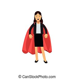 Successful business woman dressed in classic costume with red superhero cape. Powerful female character standing isolated on white. Flat vector illustration