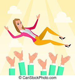 Successful caucasian business woman get thrown into the air by coworkers during celebration. Young business woman during celebration of business success. Vector flat design illustration. Square layout
