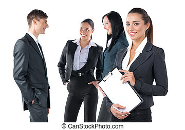 Successful business woman leading a group. Standing isolated on white