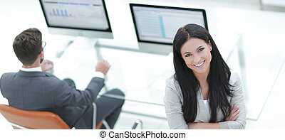 successful business woman on the background of a modern...