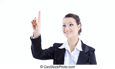 successful business woman pointing up on copy space