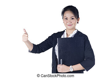 Successful business woman showing thumbs up sign, holding black file, isolated white background.