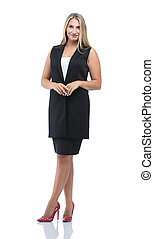 Successful business woman with arms crossed - isolated over whit