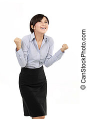 successful business woman with arms up