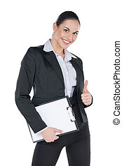 Successful business woman with blank tablet and thumb up. Standing isolated on white