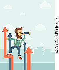 A businessman with beard stand on top of graph arrow using his telescope looking how high he is. Business success, self development concept. A Contemporary style with pastel palette, soft blue tinted background with desaturated clouds. Vector flat design illustration. Vertical layout.