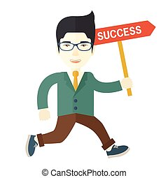 A happy chinese businessman smiling while jumping for his succeess. Business growth concept. A Contemporary style. Vector flat design illustration isolated white background. Square layout.