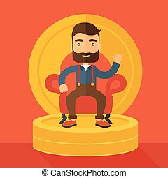 A successful businessman with beard smiling while sitting like a king on a heap of money. Achievement concept. A Contemporary style with pastel palette, orange tinted background. Vector flat design illustration. Square layout.