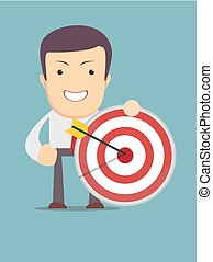 successful businessman aiming target with arrow. Stock...