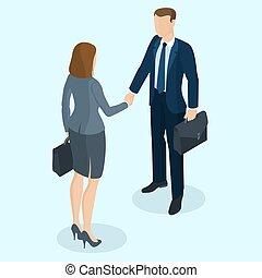 Successful businessman and businesswoman handshaking