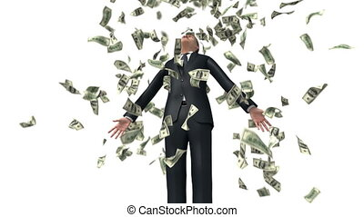 Successful Businessman and Falling Money on White Background. 3d Animation with a Depth of Field Ultra HD 4K 3840x2160
