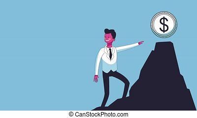 Successful businessman cartoon HD - Businessman with money...