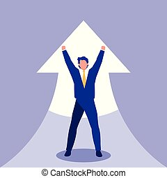 successful businessman celebrating with arrow up