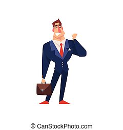 Successful businessman character in blue suit with a briefcase cartoon vector Illustration on a white background