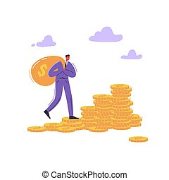Successful Businessman Character with Money Bag. Wealth, Financial Success, Money Growth, Profit Concept. Vector illustration