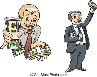 Successful businessman cartoon characters, one holding out wads of money to the viewer, the other cheering and celebrating his wealth holding stacks of banknotes
