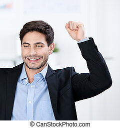 Successful businessman cheering - Successful businessman...