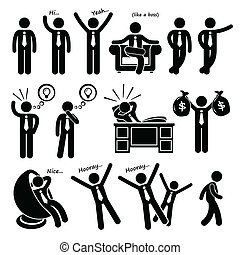 A set of human pictogram representing a successful businessman poses and posture.