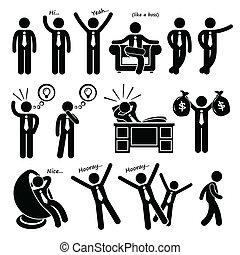 Successful Businessman Clipart - A set of human pictogram ...