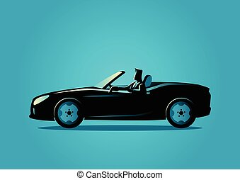 Successful businessman driving a convertible car -...