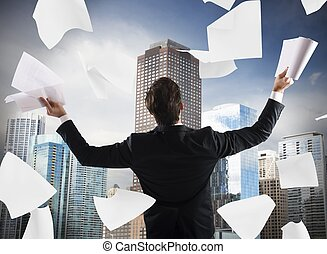Successful businessman exults