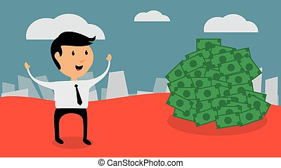 Successful businessman find money, flat design vector