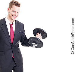 Successful businessman flexing muscles while lifting a ...