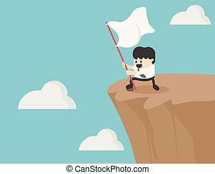 Successful businessman holding a flag on the cliff.