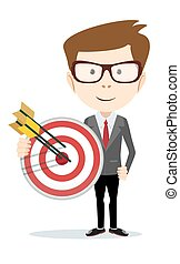 Successful businessman holding a target with arrow