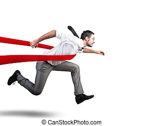 Concept of successful businessman in a finishing line