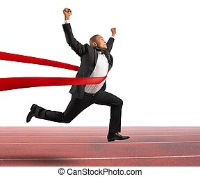 Successful businessman in a finishing line - Success of a...