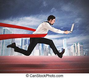 Successful businessman in a finishing line - Successful...