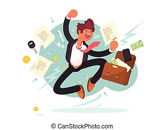 Successful businessman jumping for joy
