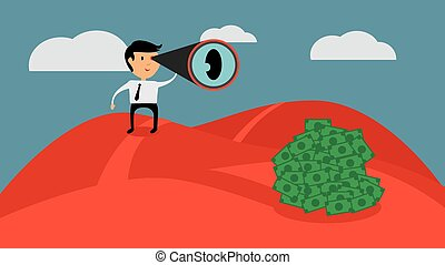 Successful businessman looking for money, flat design vector