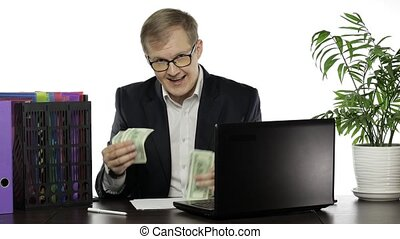 Successful businessman manager boasting of money paper - ...