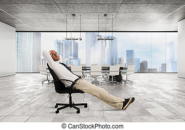 Successful businessman office