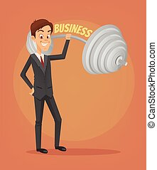 Successful businessman office worker character. Vector flat cartoon illustration