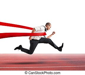 Successful businessman on the finishing line - Successful...