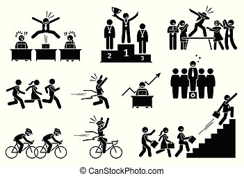 Successful businessman outdoing his colleagues. - Pictogram...