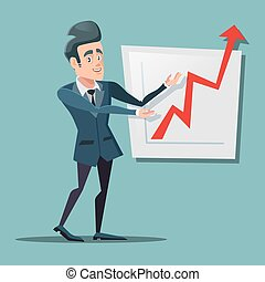 Successful Businessman Pointing on Growth Chart. Business Planning. Vector illustration
