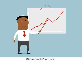 Successful businessman presenting a growing sales chart