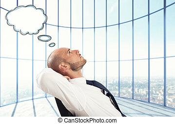 Successful Businessman relax and think
