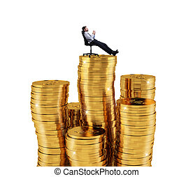 Successful businessman relaxing over piles of money. Concept of success and company growth