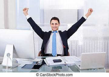 Successful Businessman Sitting At Desk