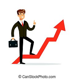 Successful businessman standing on success graph with a red arrow, vector Illustration