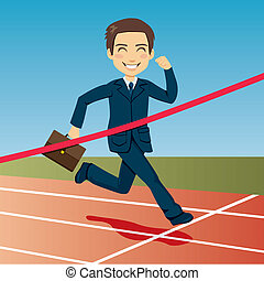 Successful businessman arriving first at finish line winning