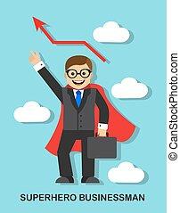 Successful businessman superhero